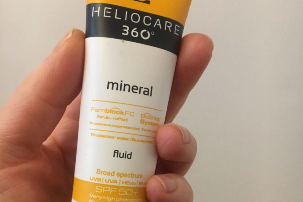 A bottle of Heliocare 360 Mineral Fluid Sunscreen spf 50