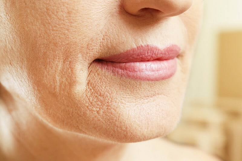 A women's lips and chin